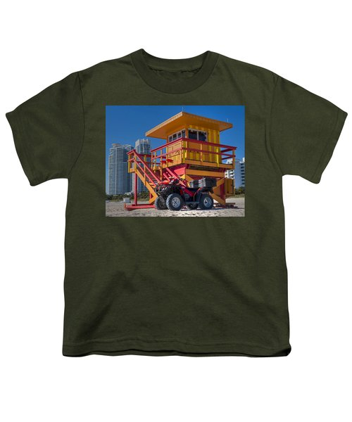 Miami Beach Lifeguard House Ocean Rescue Youth T-Shirt by Toby McGuire
