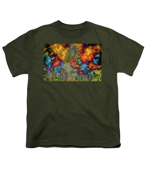 Myrtle Beach Skywheel Abstract Youth T-Shirt by Bill Barber