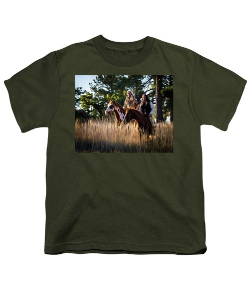 Native Americans On Horses In The Morning Light Youth T-Shirt
