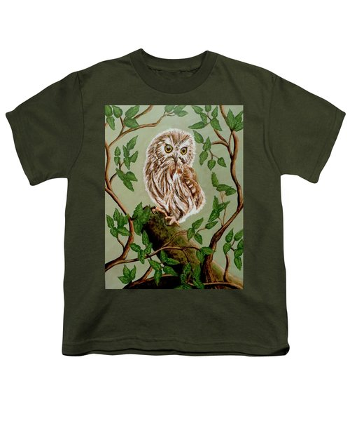 Northern Saw-whet Owl Youth T-Shirt by Teresa Wing