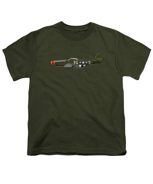 Old Crow - P-51 D Mustang Youth T-Shirt by Ed Jackson