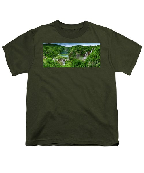 Panorama Of Turquoise Lakes And Waterfalls - A Dramatic View, Plitivice Lakes National Park Croatia Youth T-Shirt