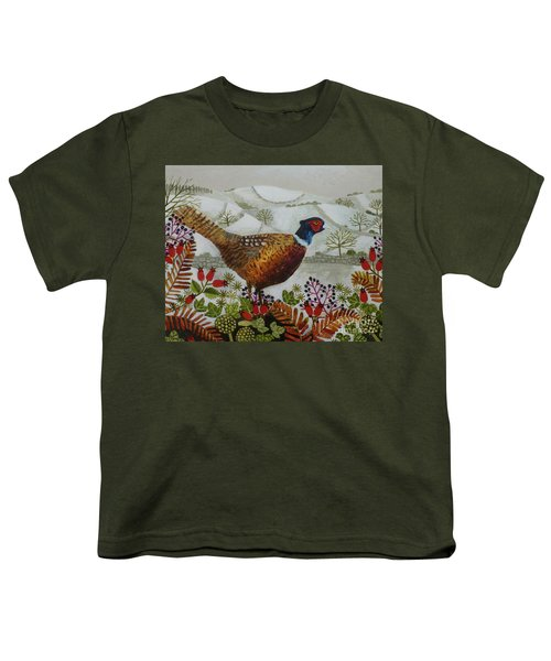 Pheasant And Snowy Hillside Youth T-Shirt