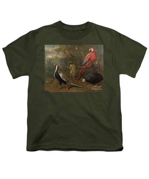 Pheasant Macaw Monkey Parrots And Tortoise  Youth T-Shirt
