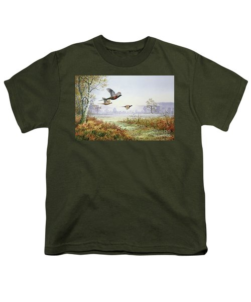 Pheasants In Flight  Youth T-Shirt by Carl Donner