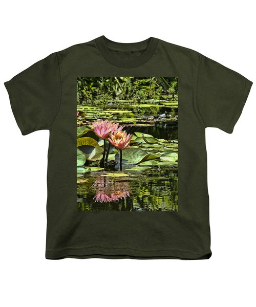 Pink Water Lily Reflections Youth T-Shirt by Bill Barber
