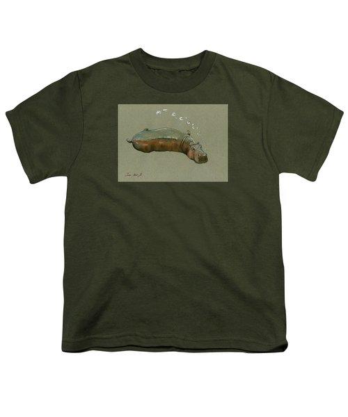 Playing Hippo Youth T-Shirt by Juan  Bosco