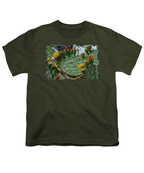 Prickly Pear Flowers H35 Youth T-Shirt by Mark Myhaver