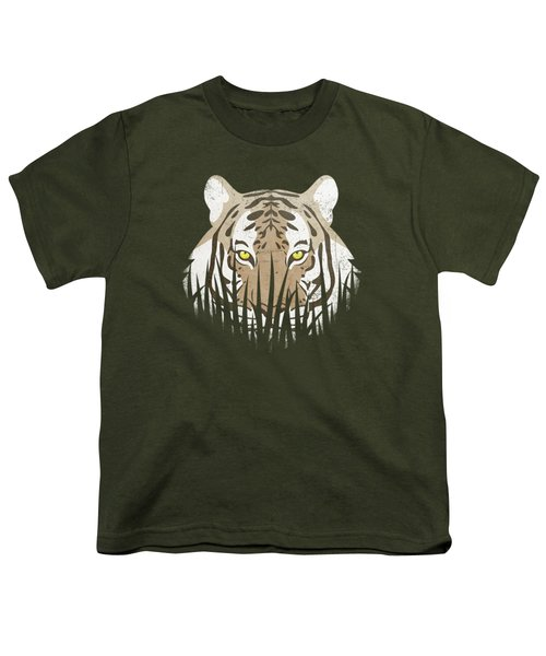 Hiding Tiger Youth T-Shirt by Sinisa Kale