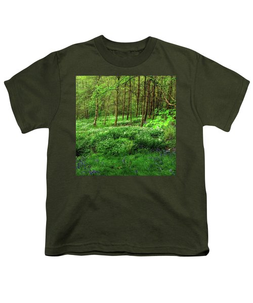 Ramsons And Bluebells, Bentley Woods Youth T-Shirt by John Edwards