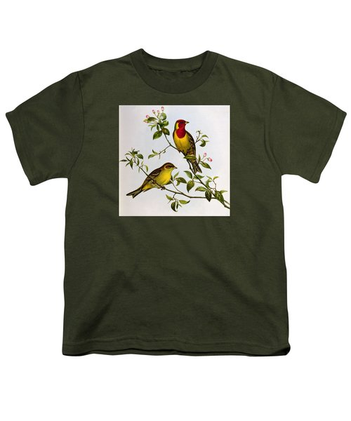 Red Headed Bunting Youth T-Shirt by John Gould