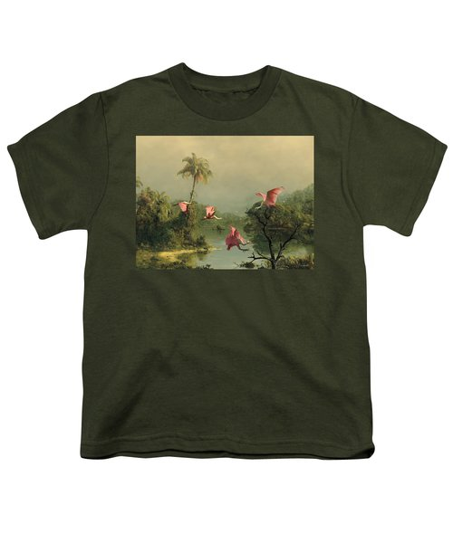 Spoonbills In The Mist Youth T-Shirt by Spadecaller