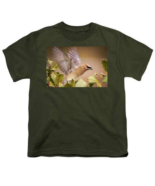 Spread Your Wings Cedar Waxwing  Youth T-Shirt
