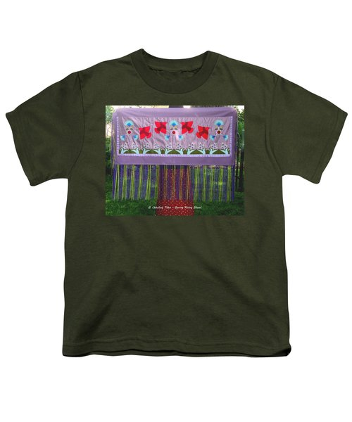 Youth T-Shirt featuring the tapestry - textile Spring Rising by Chholing Taha