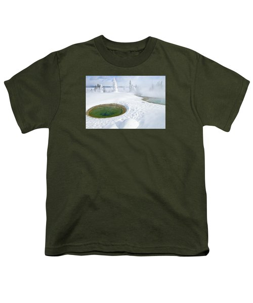 Youth T-Shirt featuring the photograph Steam And Snow by Gary Lengyel