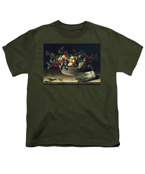 Still Life With A Basket Of Fruit And A Bunch Of Asparagus Youth T-Shirt