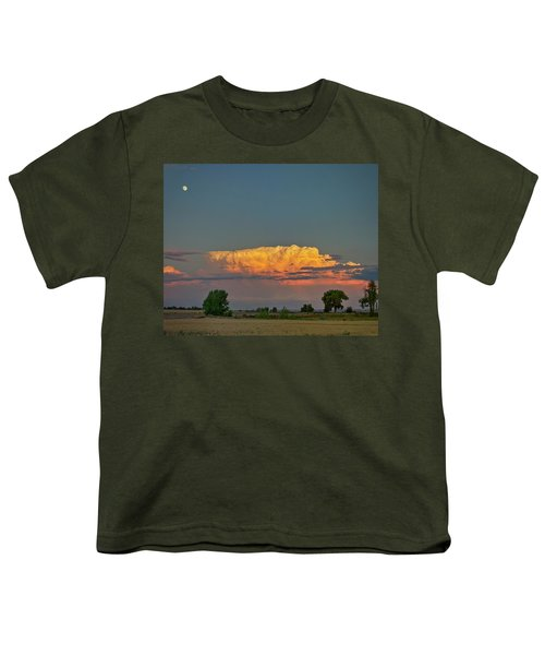 Youth T-Shirt featuring the photograph Summer Night Storms Brewing And Moon Above by James BO Insogna