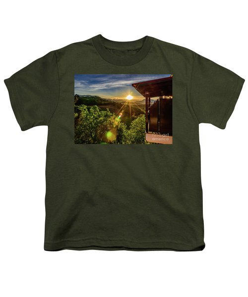 Sunburst View From Dellas Boutique Hotel Near Meteora In Kastraki, Kalambaka, Greece Youth T-Shirt