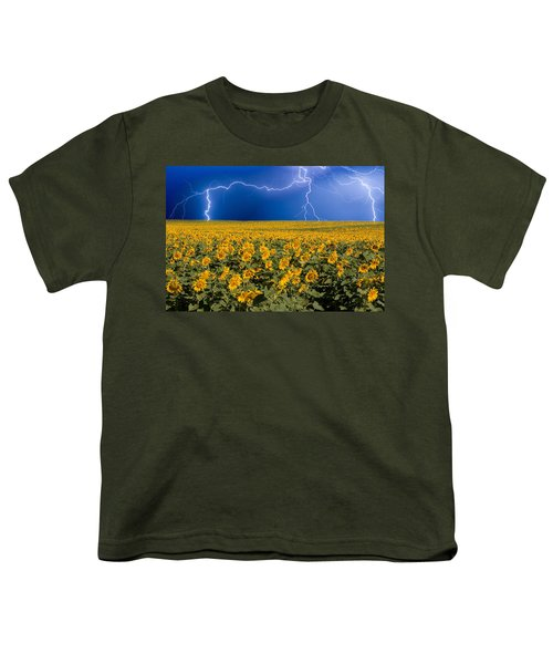 Sunflower Lightning Field  Youth T-Shirt