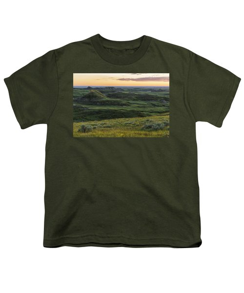 Sunset Over Killdeer Badlands Youth T-Shirt by Robert Postma