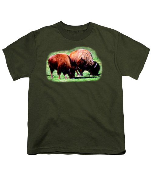 Texas Bison Youth T-Shirt by Linda Phelps