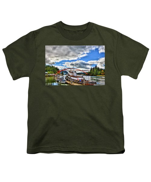 The Rainbow Bridge - Laconner Washington Youth T-Shirt by David Patterson