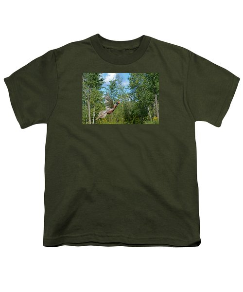 The Ring-necked Pheasant In Take-off Flight Youth T-Shirt by Asbed Iskedjian