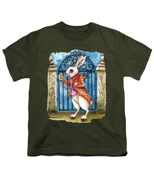 The White Rabbit Late Again Youth T-Shirt by Lucia Stewart