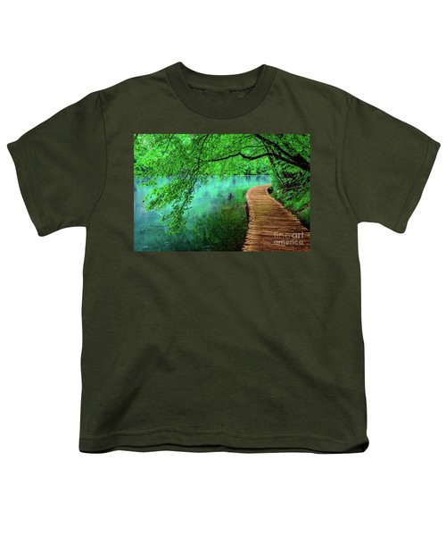 Tree Hanging Over Turquoise Lakes, Plitvice Lakes National Park, Croatia Youth T-Shirt