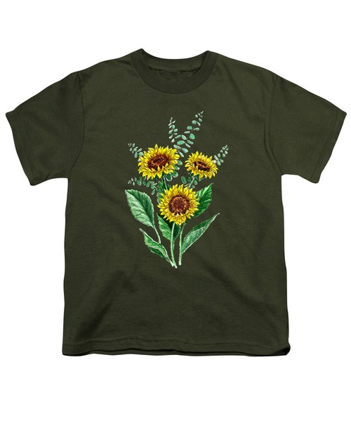 Three Playful Sunflowers Youth T-Shirt