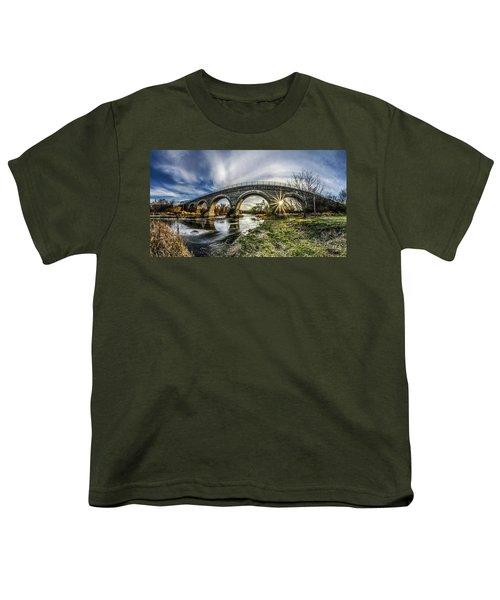 Tiffany Bridge Panorama Youth T-Shirt by Randy Scherkenbach