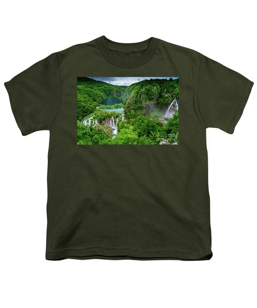 Turquoise Lakes And Waterfalls - A Dramatic View, Plitivice Lakes National Park Croatia Youth T-Shirt