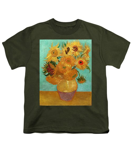 Youth T-Shirt featuring the painting Vase With Twelve Sunflowers by Van Gogh