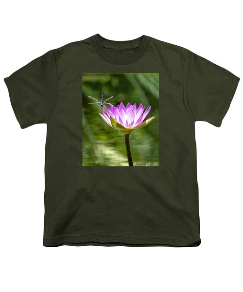 Youth T-Shirt featuring the photograph Water Lily With Dragon Fly by Bill Barber