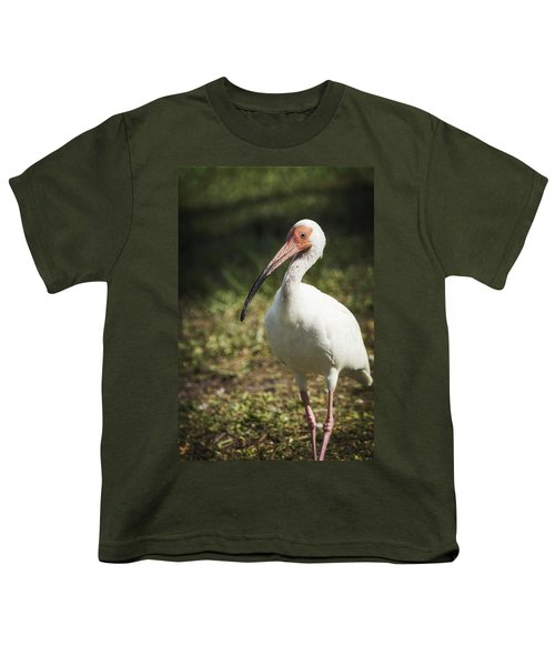 White Ibis On A Walk  Youth T-Shirt by Saija  Lehtonen