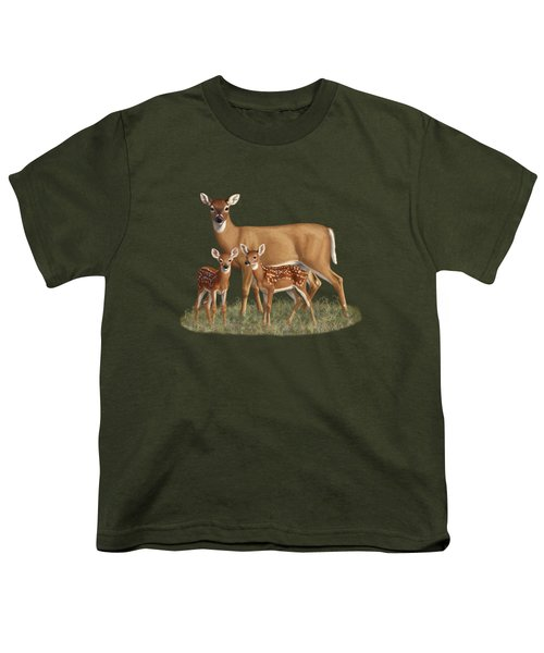 Whitetail Doe And Fawns - Mom's Little Spring Blossoms Youth T-Shirt by Crista Forest