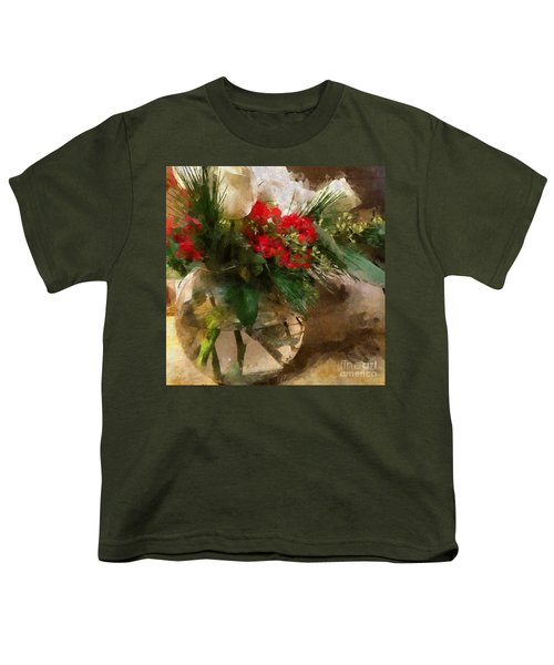 Winter Flowers In Glass Vase Youth T-Shirt