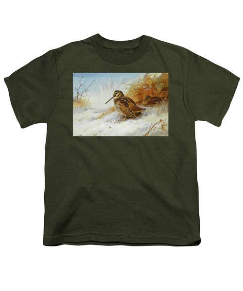 Woodcock In Winter By Thorburn Youth T-Shirt