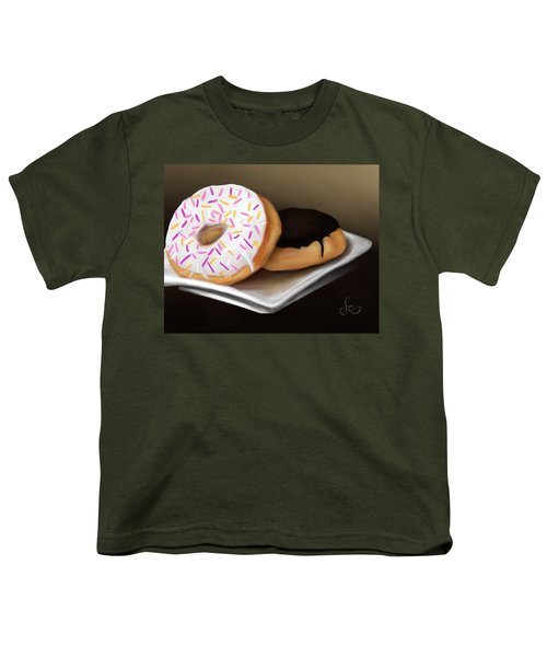 Youth T-Shirt featuring the painting Doughnut Life by Fe Jones