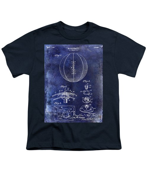 1927 Basketball Patent Drawing Blue Youth T-Shirt