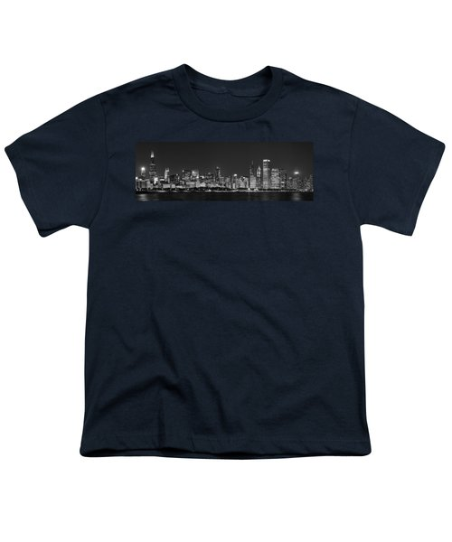 Chicago Skyline At Night Black And White Panoramic Youth T-Shirt by Adam Romanowicz