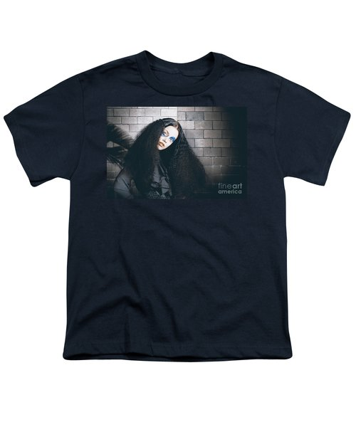 Occult Medieval Performer On Castle Brick Wall Youth T-Shirt