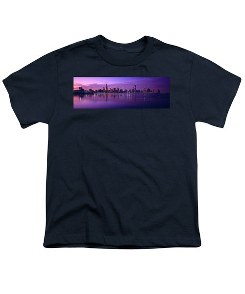 Buildings At The Waterfront Lit Youth T-Shirt by Panoramic Images
