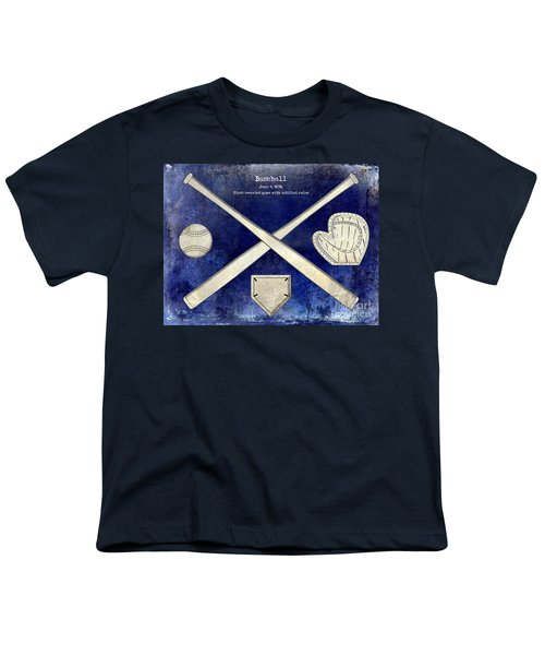 1838 Baseball Drawing 2 Tone Blue Youth T-Shirt