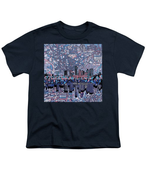 Austin Texas Skyline 3 Youth T-Shirt by Bekim Art
