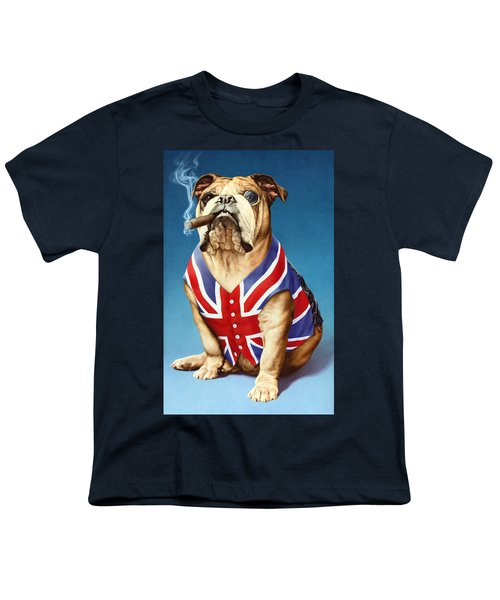 British Bulldog Youth T-Shirt by Andrew Farley