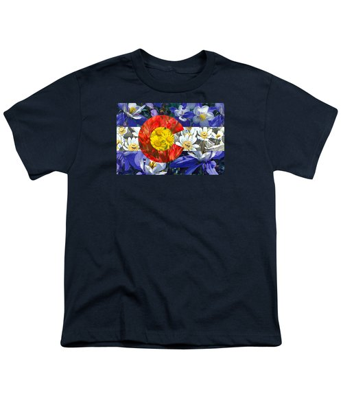 Youth T-Shirt featuring the photograph Colorado State Flag With Wildflower Textures by Aaron Spong