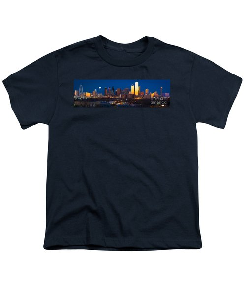 Dallas Skyline Panorama Youth T-Shirt by Inge Johnsson