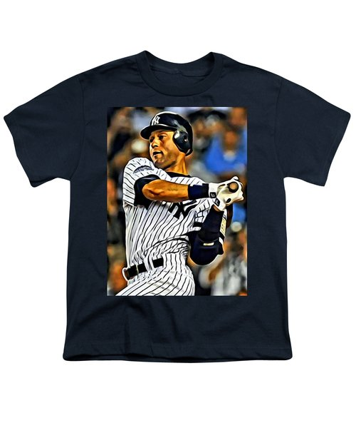 Derek Jeter In Action Youth T-Shirt by Florian Rodarte