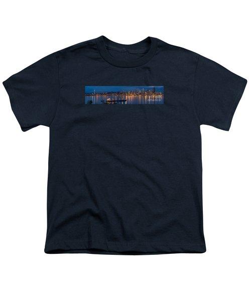 Elliott Bay Seattle Skyline Night Reflections  Youth T-Shirt by Mike Reid